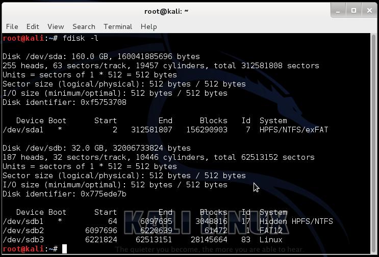 Esecuzione del comando fdisk. Nel mio caso il nodo del dispositivo su cui è installato Windows è /dev/sda1. Ciò è facilmente intuibile dalla dimensione e dal formato del filesystem, e dal fatto che il volume è contrassegnato come avviabile. In basso, i volumi che incominciano con /dev/sdb appartengono alla memoria USB da cui ho avviato Linux.