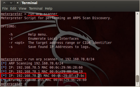 arp_scan meterpreter