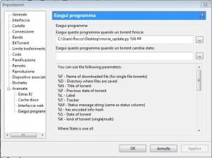 configurazione utorrent esegui programma