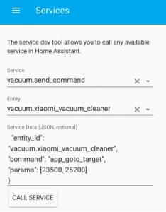 Test del comando app go to target nello strumento di sviluppo del servizio in Home assistant